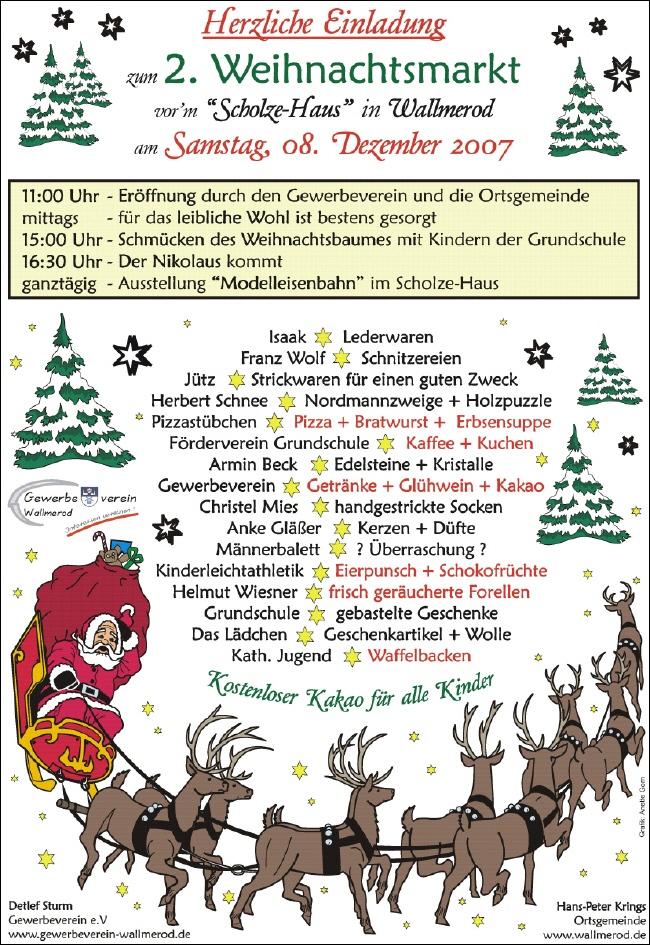 2. wallmeroder weihnachtsmarkt, Einladungen